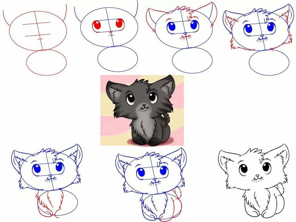 Картинки кошки и котята для срисовки, ручной работы мартом