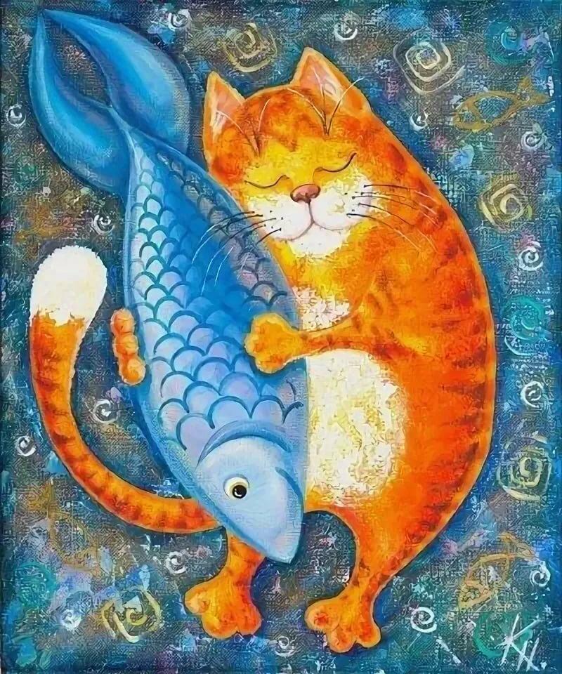 может картинка котика с рыбками отлично будет