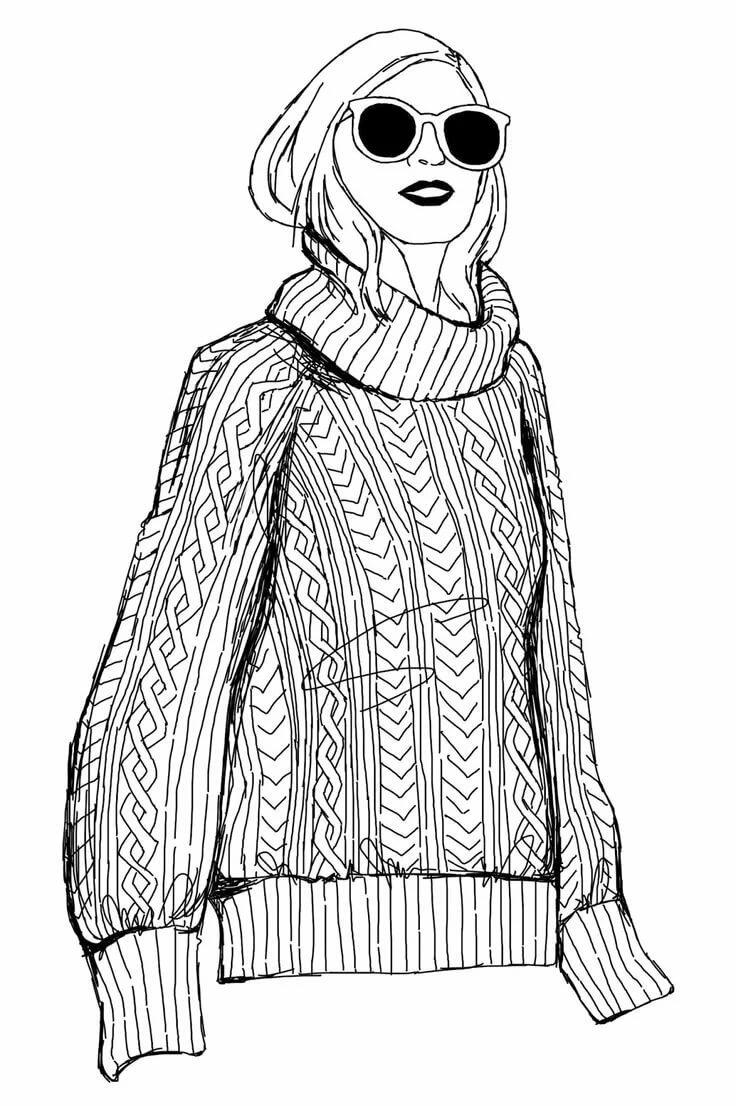 картинки карандашом свитер настоящее время