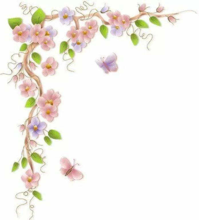 Рамки и цветы в открытки уголки
