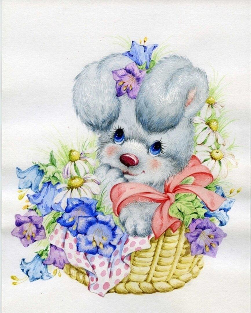 Зайчик с цветами открытки, февраля