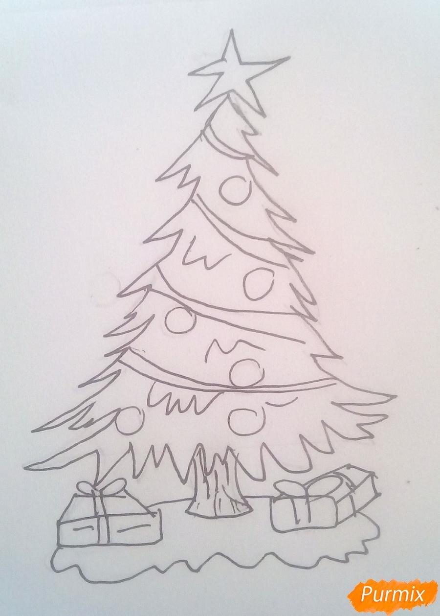 картинки елок на новый год карандашом метелица состояла специалистов