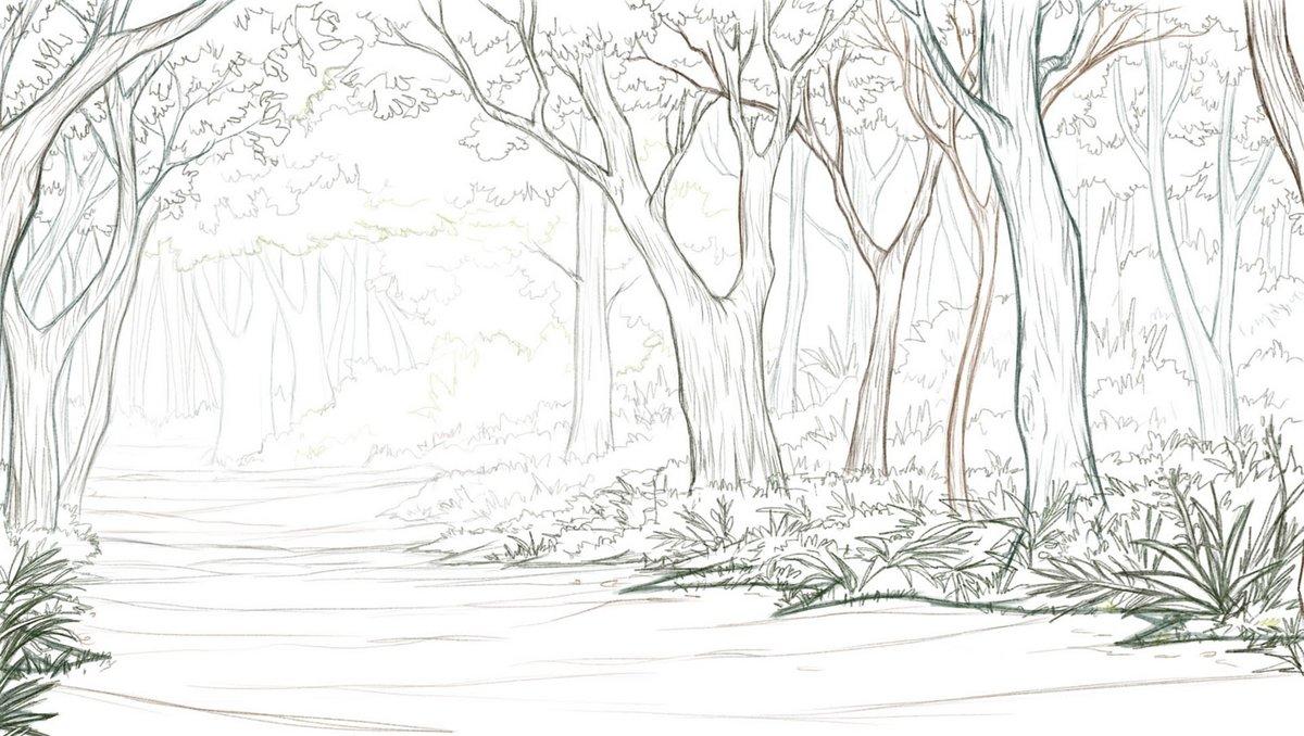 День леса рисунок карандашом, картинки людей