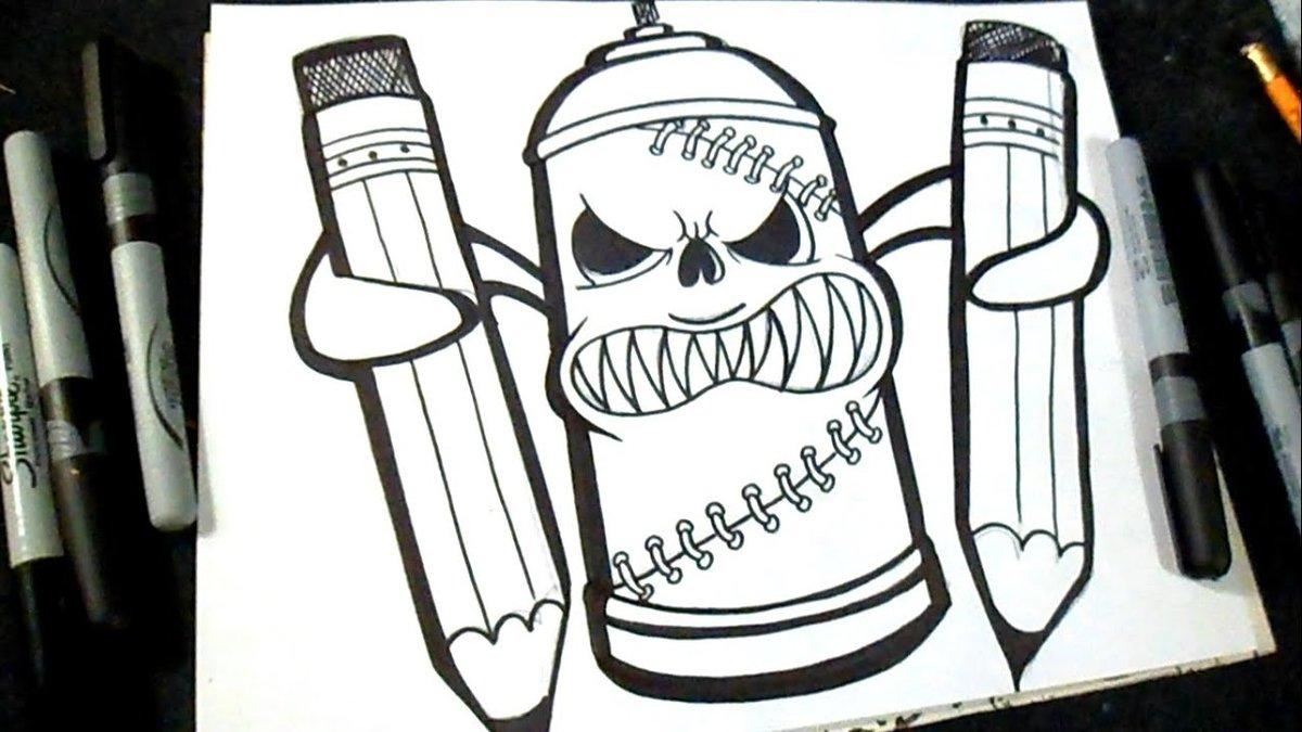 Рисунки карандашом легкие прикольные граффити