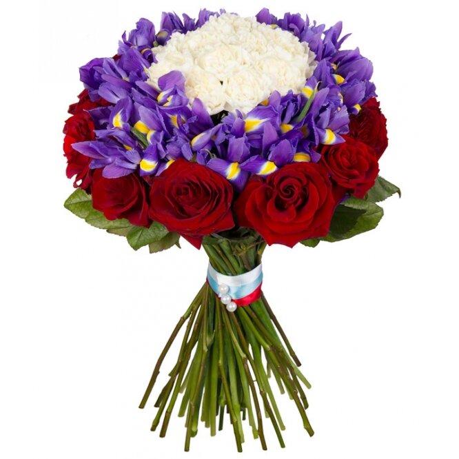 Свадебного, заказ цветов синие ирисы