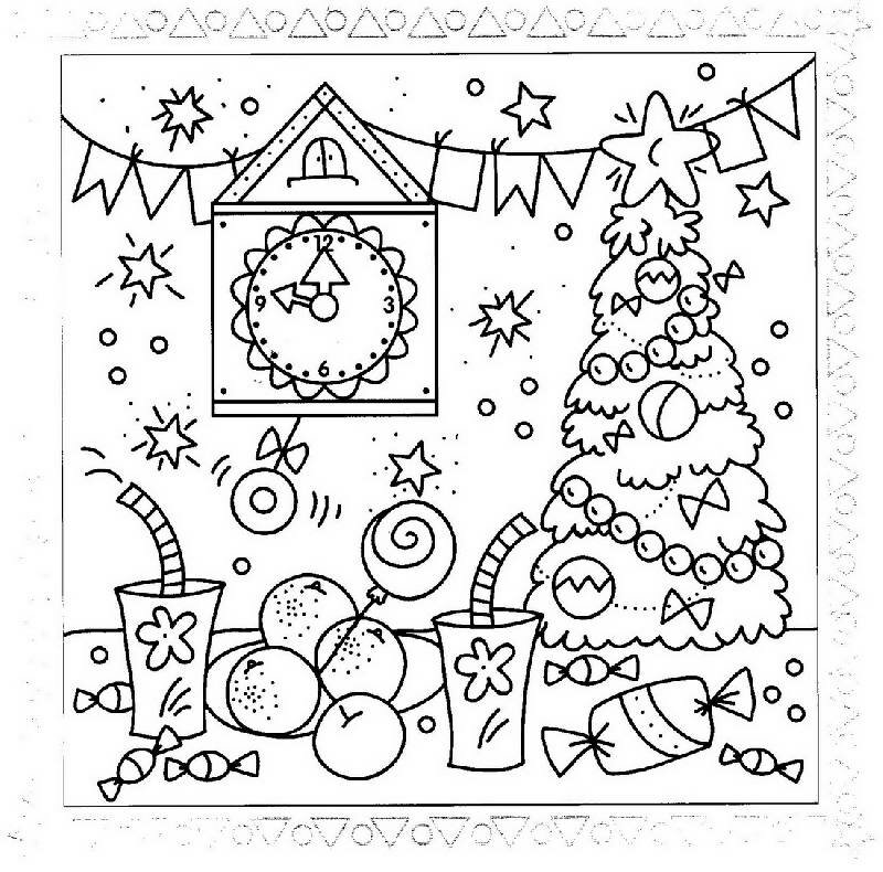 Раскраска новогодняя открытка для малышей