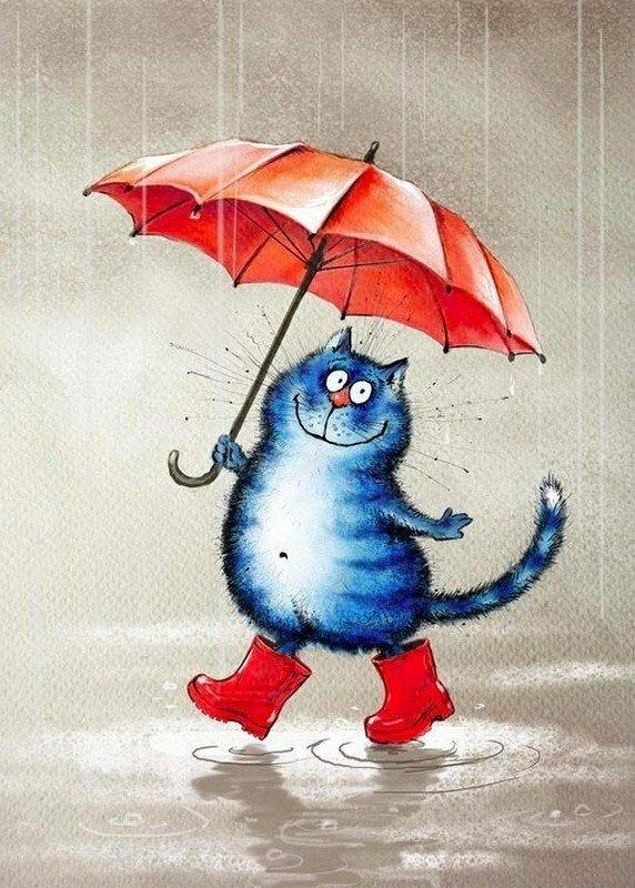 Смешные картинки на тему дождя, февраля открытка