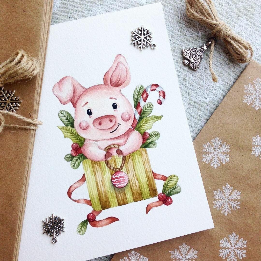 Скучаю, что нарисовать на открытке на новый год свиньи