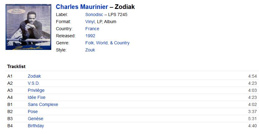 Charles Maurinier - Zodiak (Vinyl, LP, Album)   Discogs S1200
