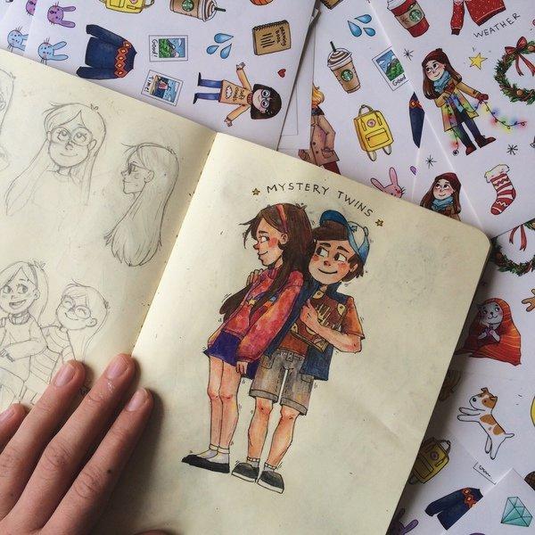 Прикольные рисунки на альбоме