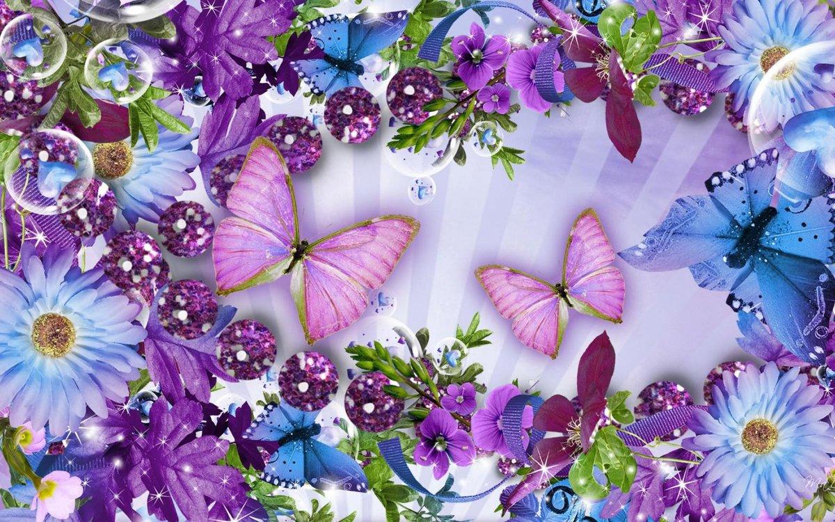 Открытки с бабочками и цветы