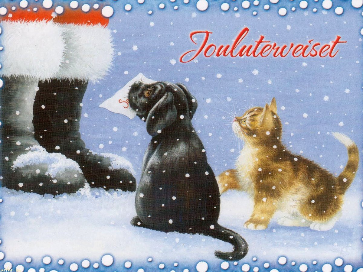 Новогодние картинки котенок и щенок, онлайн