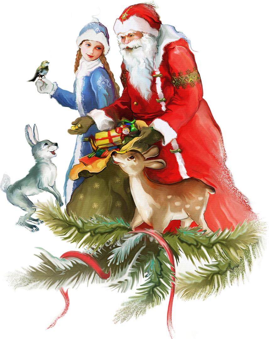 Новогодняя открытка с елкой и дедом морозом, открытки