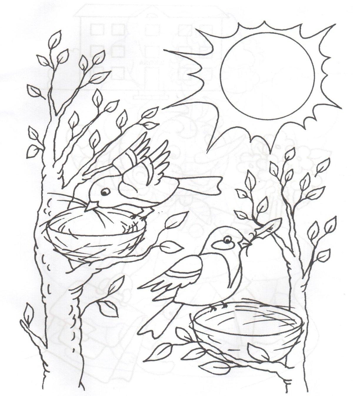 Картинки раскраски про весну целая