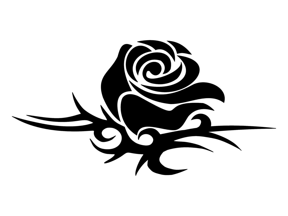 Картинки розы черно белые тату