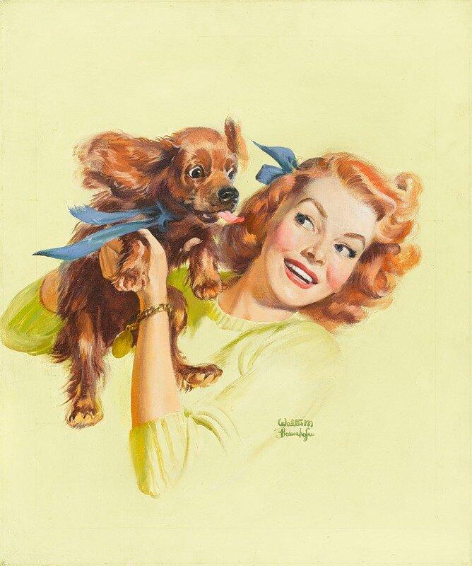 Открытки девочка с собакой