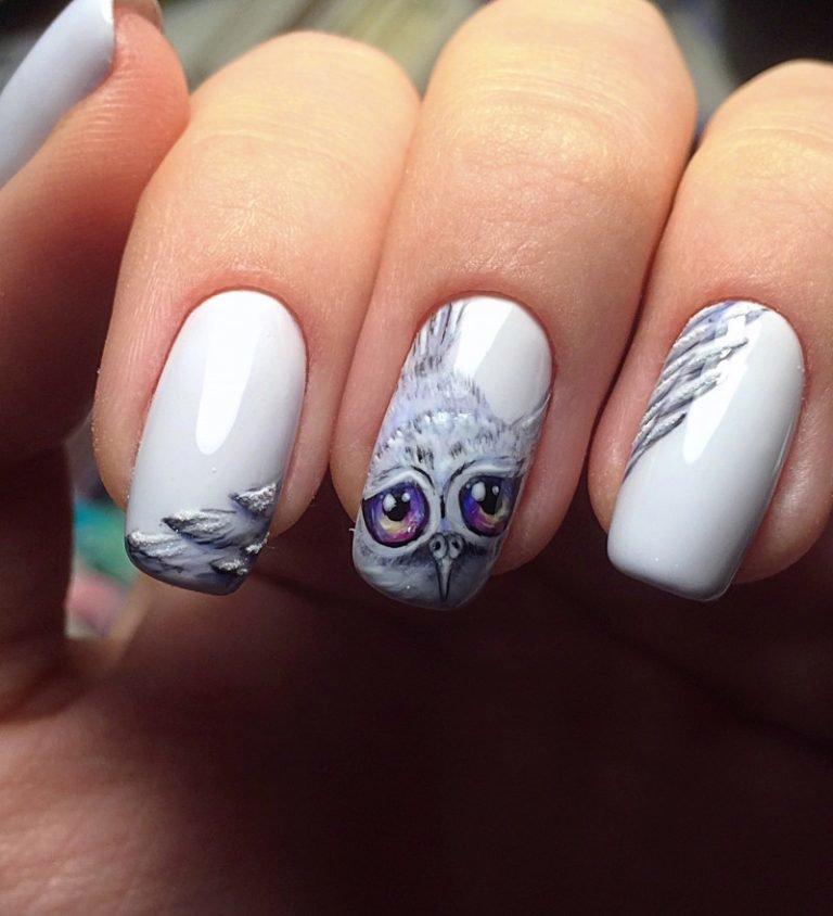 новогодняя сова рисунок на ногтях этого