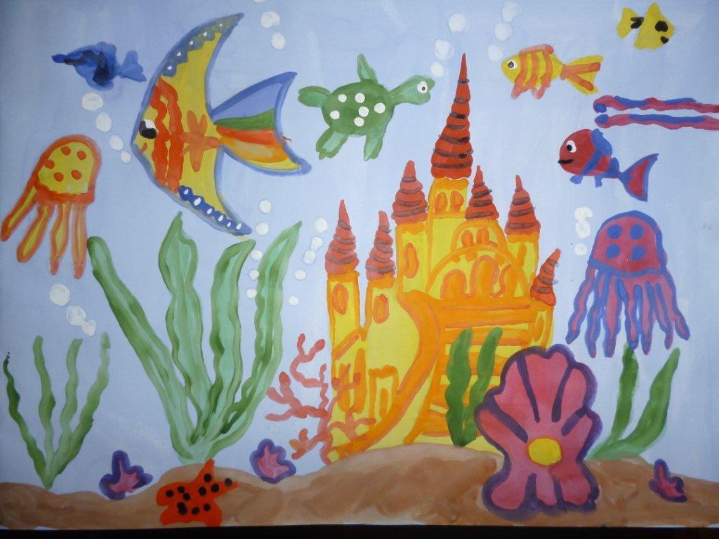 рисунок подводное царство красками можно оформить плакат