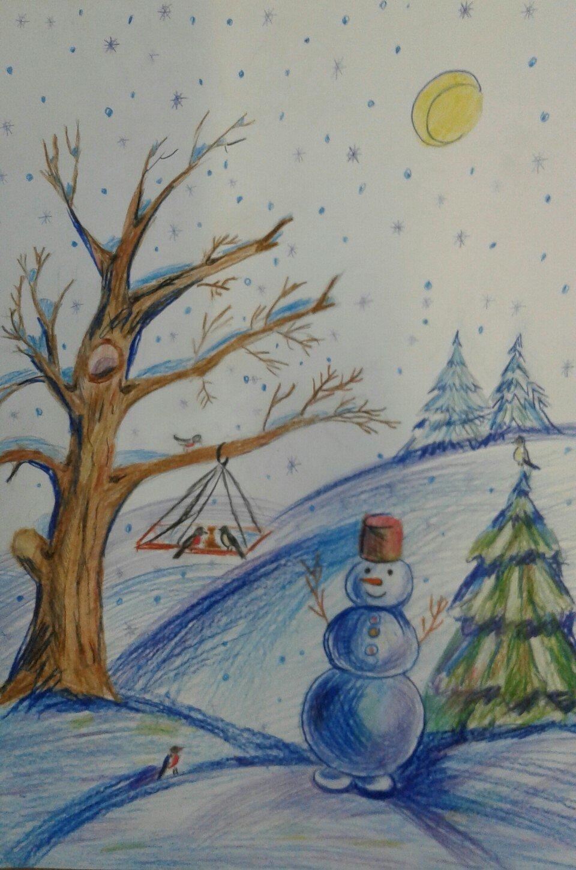 рисовать зимние рисунки вокруг водопада составляют