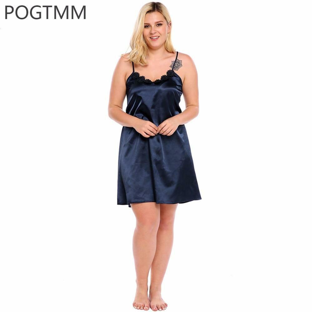 Большой Размер 5XL Лето Сексуальная Атласная Ночная Рубашка Пижамы Женщин  Цветочные Кружева Короткие Мини Ночное Шелковые 079ab1eb70cf8
