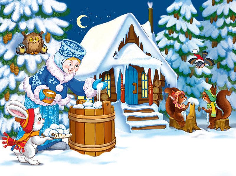 рисунки в гостях у тетушки зимы вырос