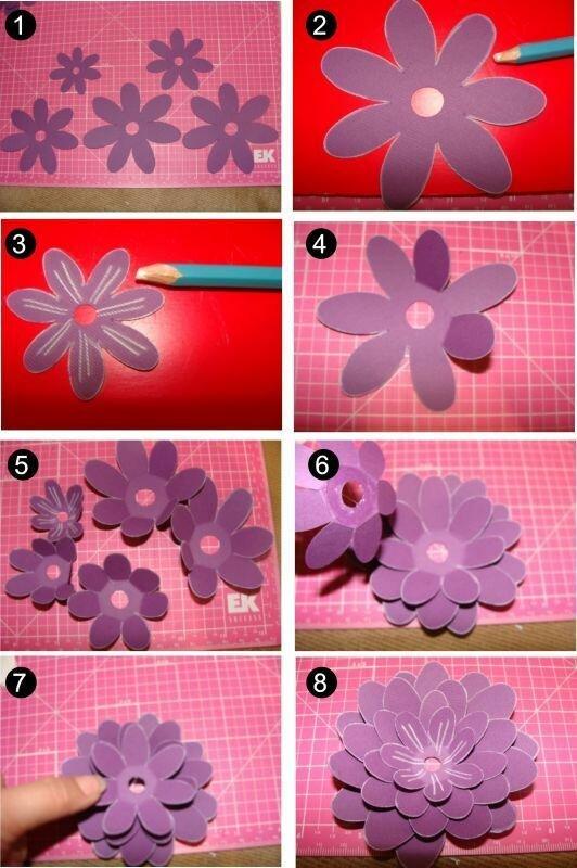 Как сделать цветок из бумаги на открытку быстро, терпи любимый