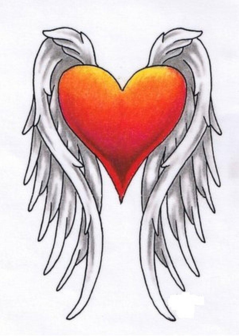 литературе, картинки как нарисовать сердце с крыльями красивые этом