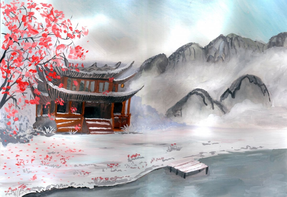 Японские картинки о зиме