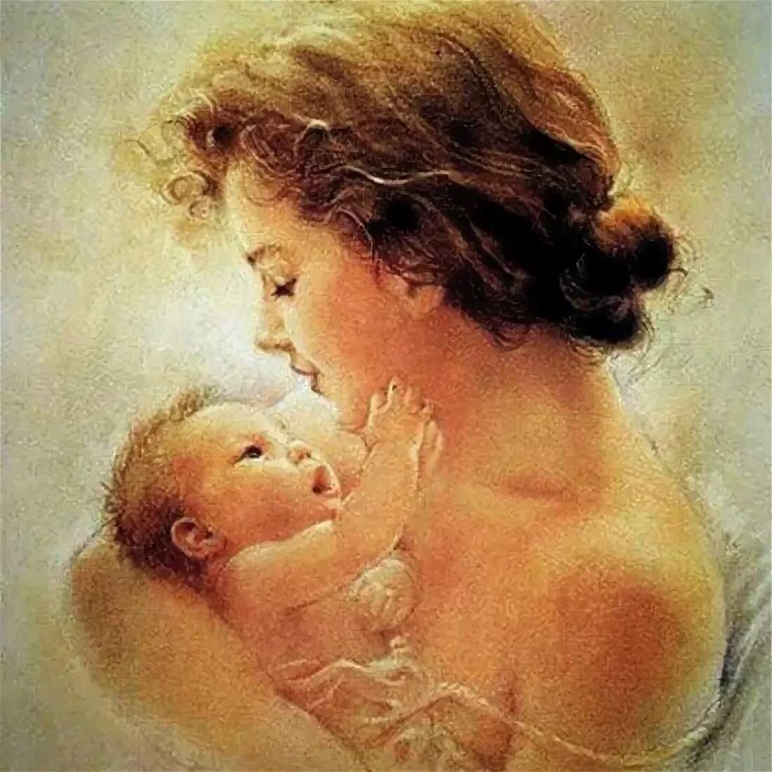 Картинки рисованные женщин с детьми