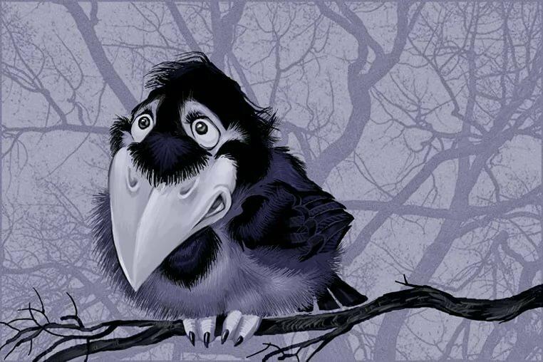 Рисунок прикольная ворона
