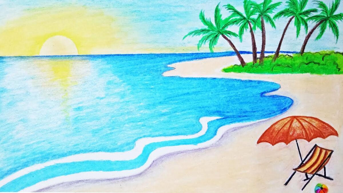 Море картинки для детей нарисованные карандашом, марта