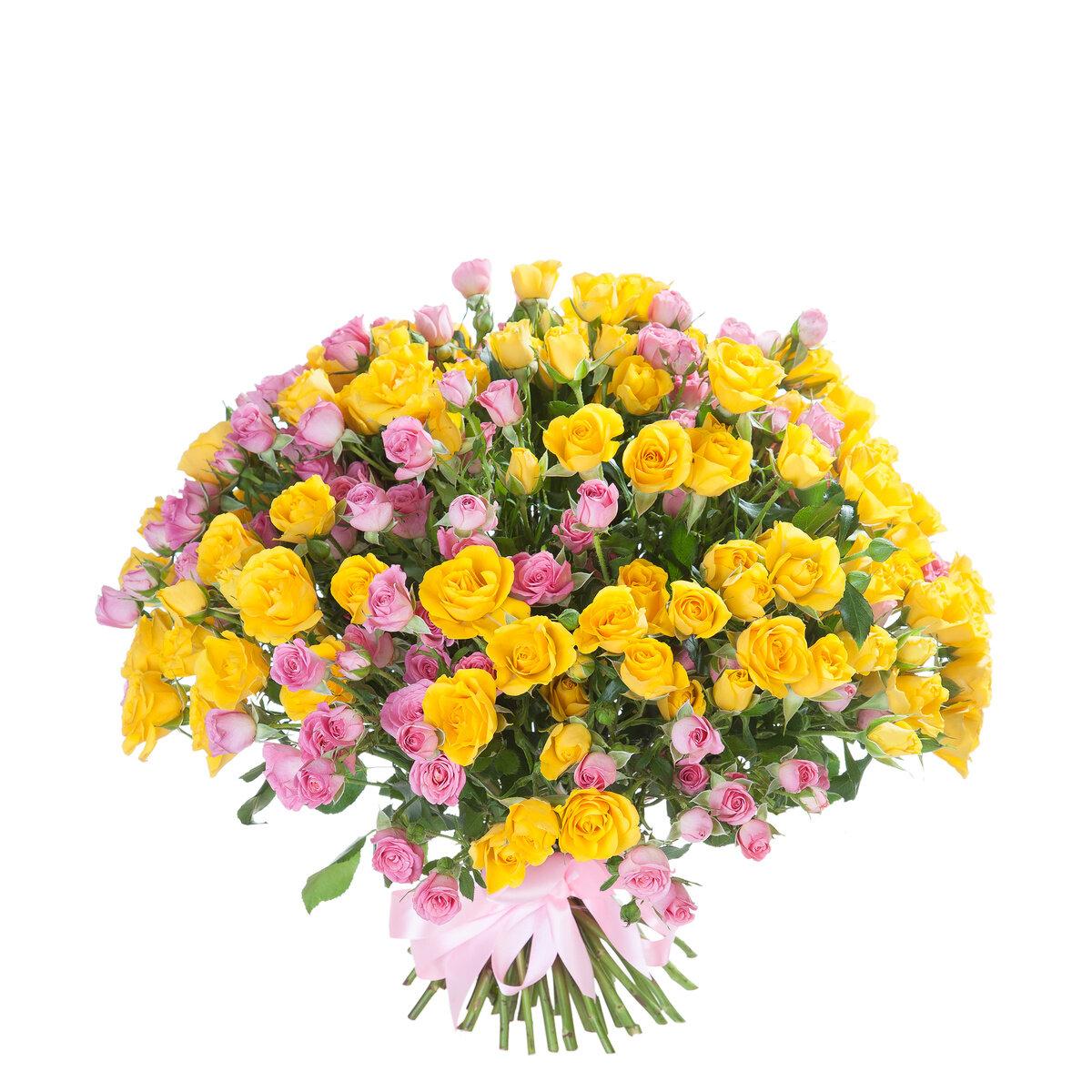 Большой букет желтых цветов, букет тюльпанов