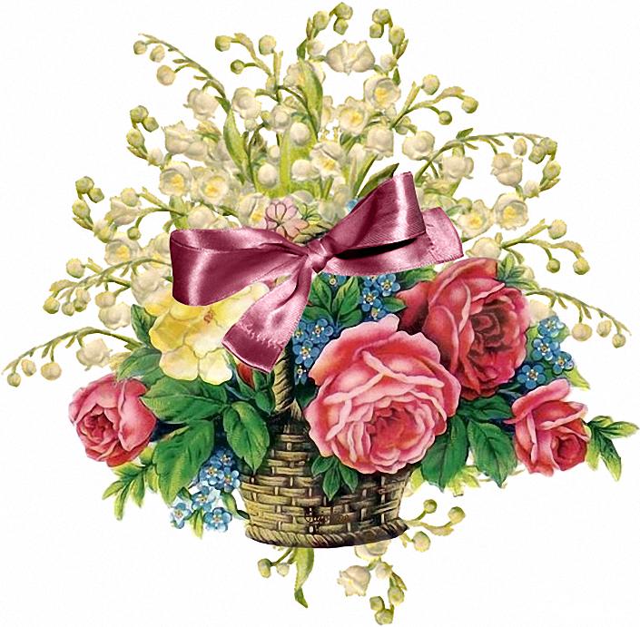 Днем, блестящая открытка с цветами