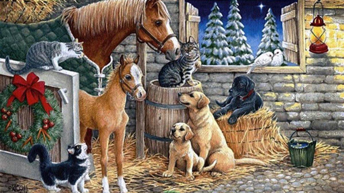 Открытки с животными новому году
