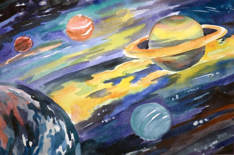Картинки гуашью космос, поздравление днем
