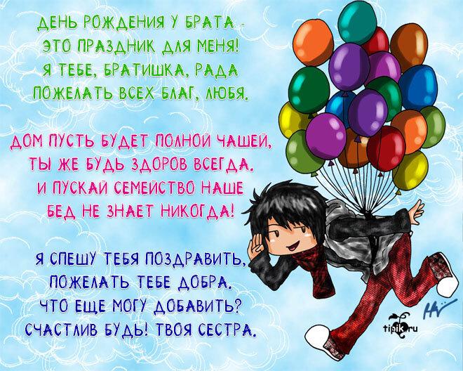 Пожелание с днем рождения брату от сестры в прозе