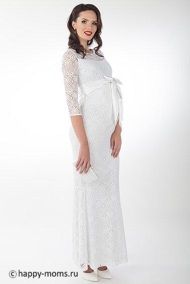 54720b3a73e840c Белое платье для беременных в пол из кружева. Верх с округлый горловиной,  рукава 3