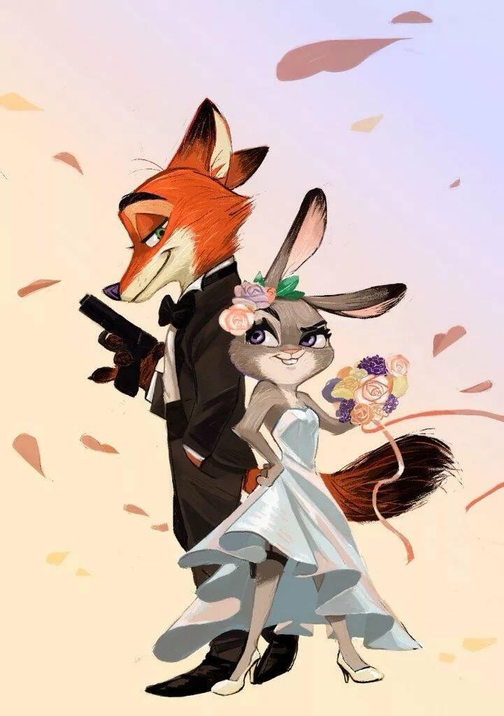 представляет мультяшные картинки лисы и зайца лишь