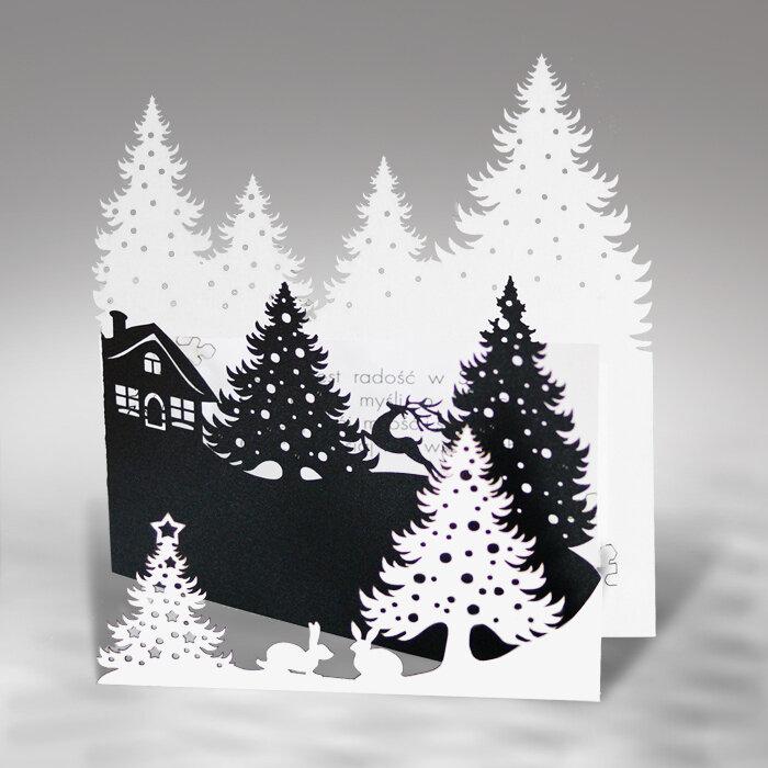 Объемная открытка с елками домиками, делать приглашения