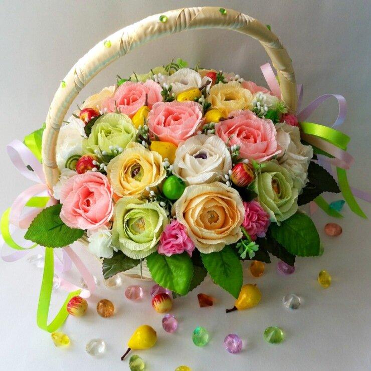 Открытки из цветов с конфетами