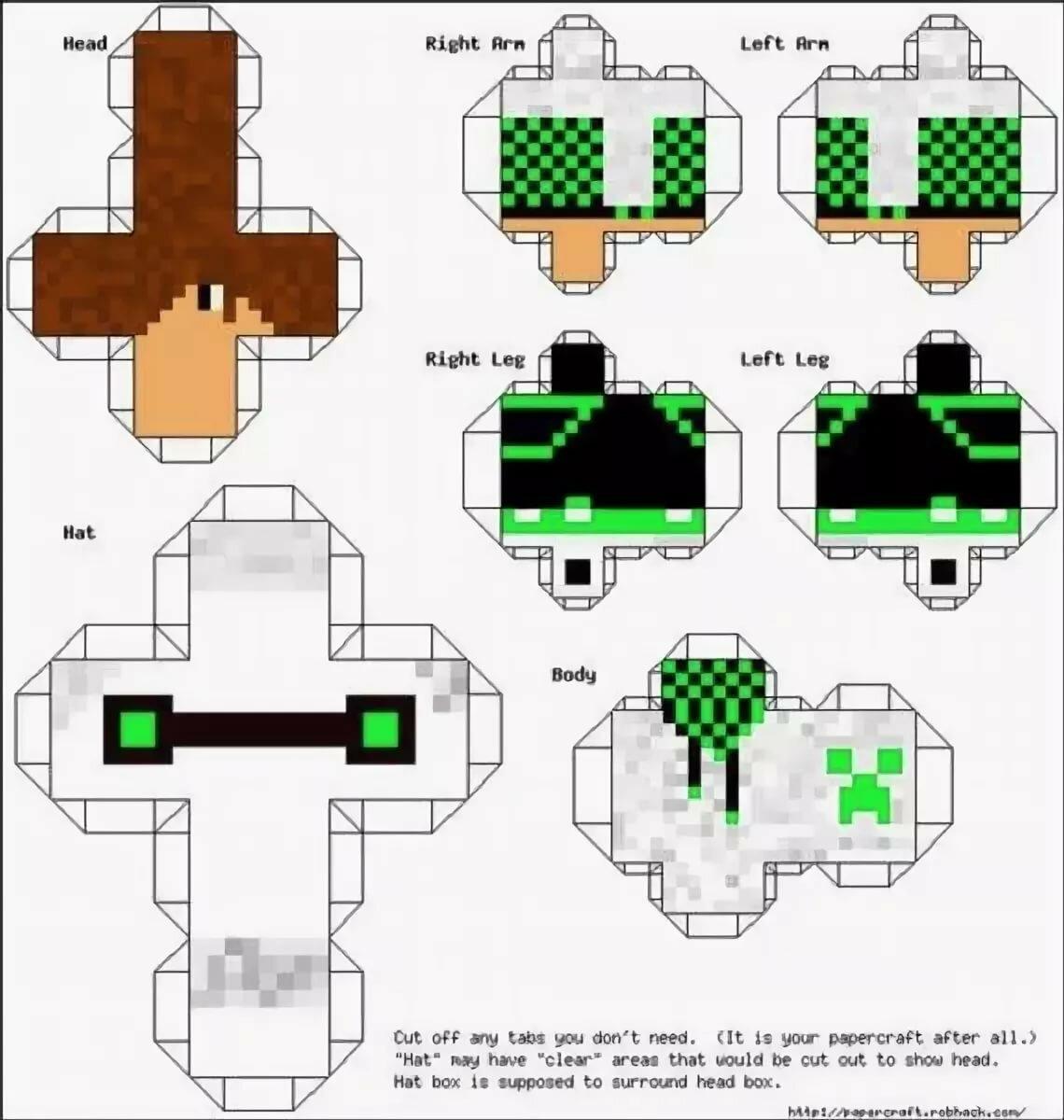 Схемы майнкрафт из бумаги распечатать