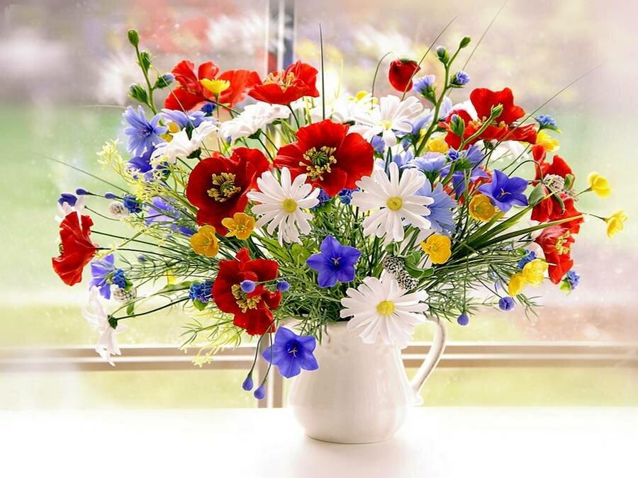 Приколы днем, с днем рождения открытки с полевыми цветами женщине