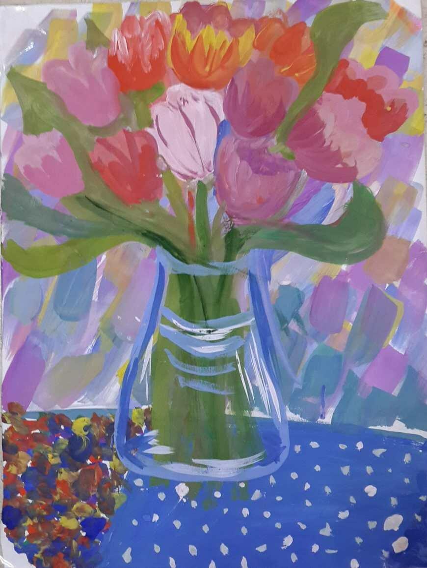 Картинки с цветами нарисованные гуашью