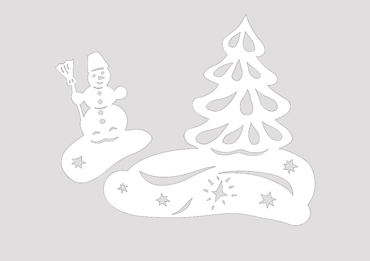 Вырезаем картинку на окно новый год, открытка коллеге