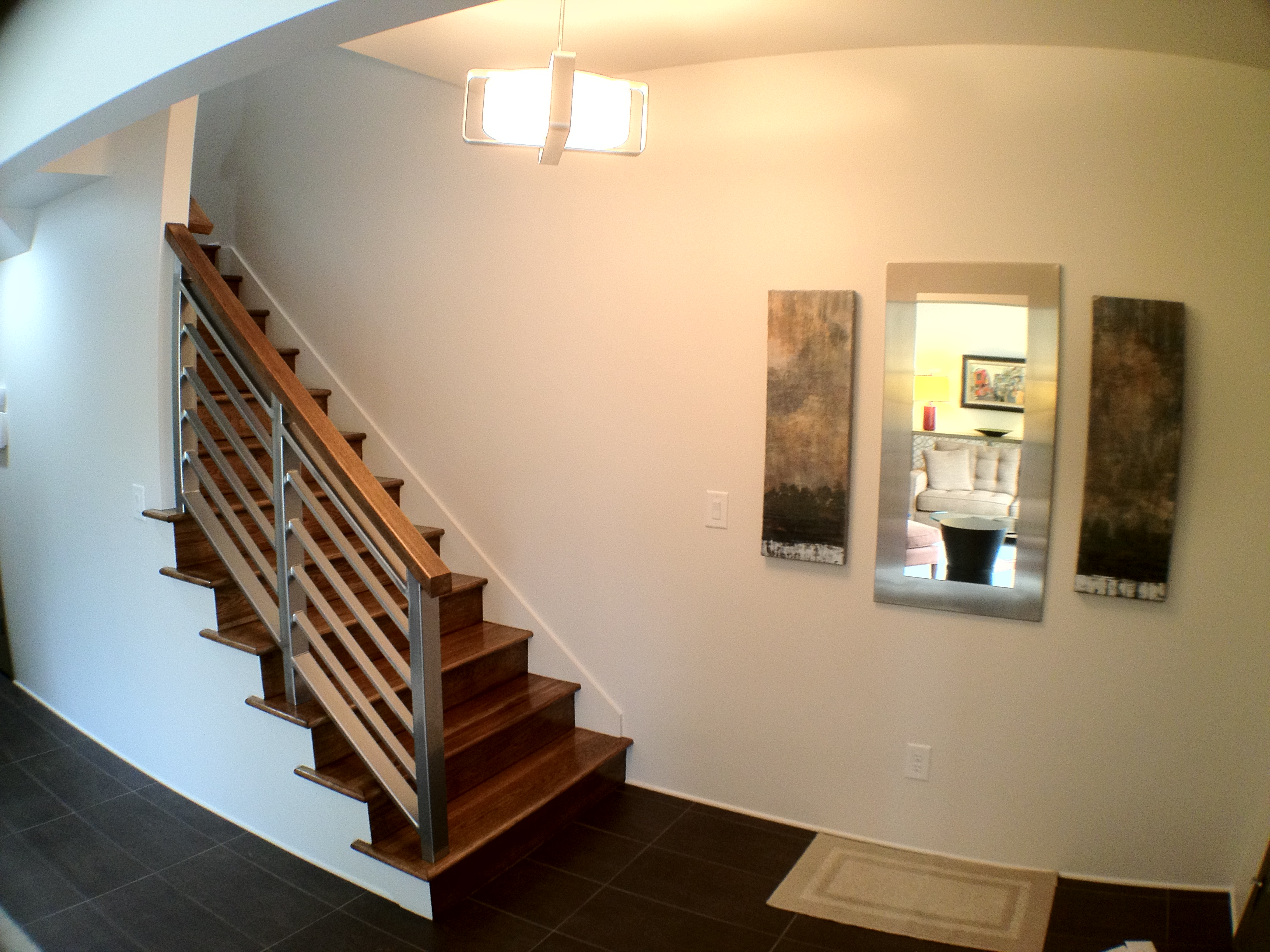 Amazing Brown Finished Wood Staircase As Inspiring Custom Mo Card