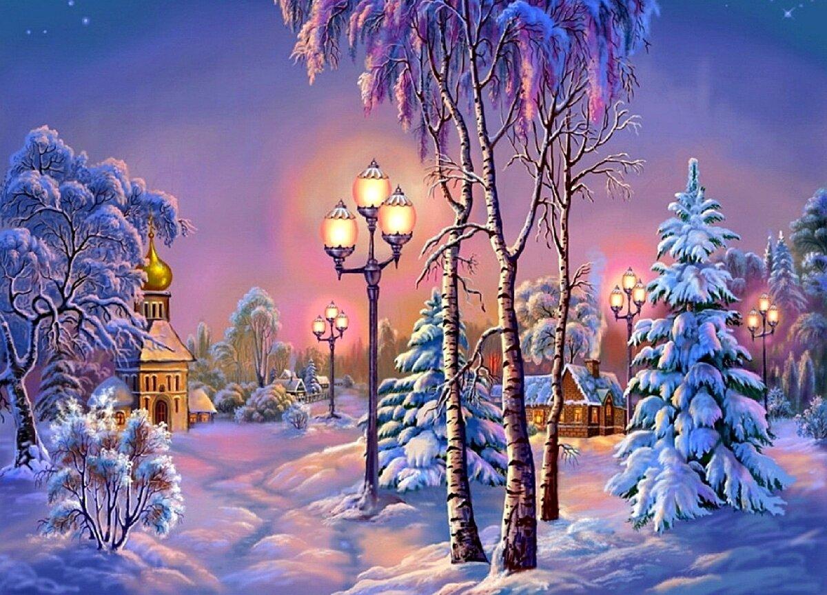 Зимнего вечера картинки