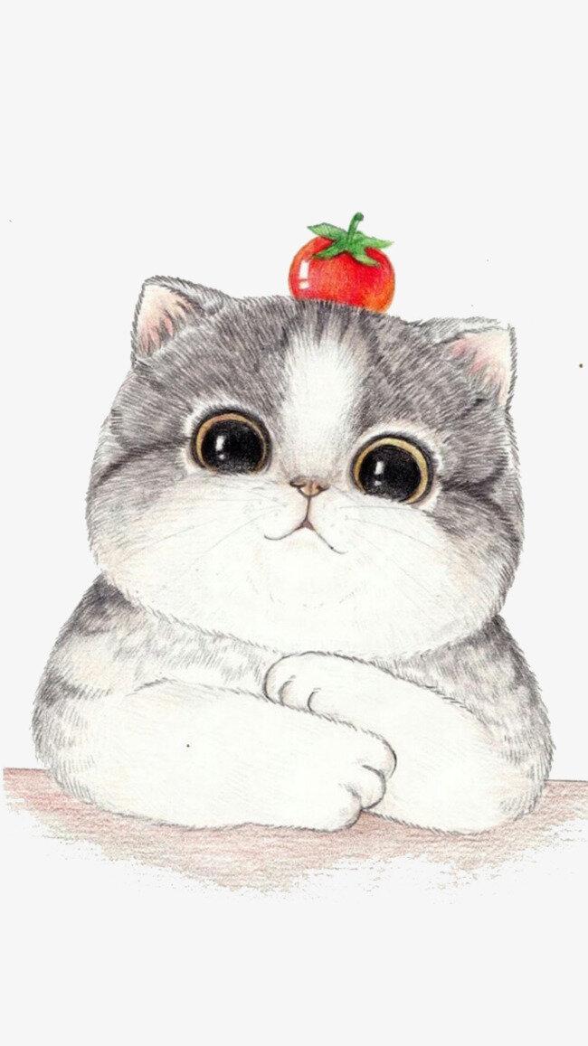 День рождения, котики открытки милые нарисованные