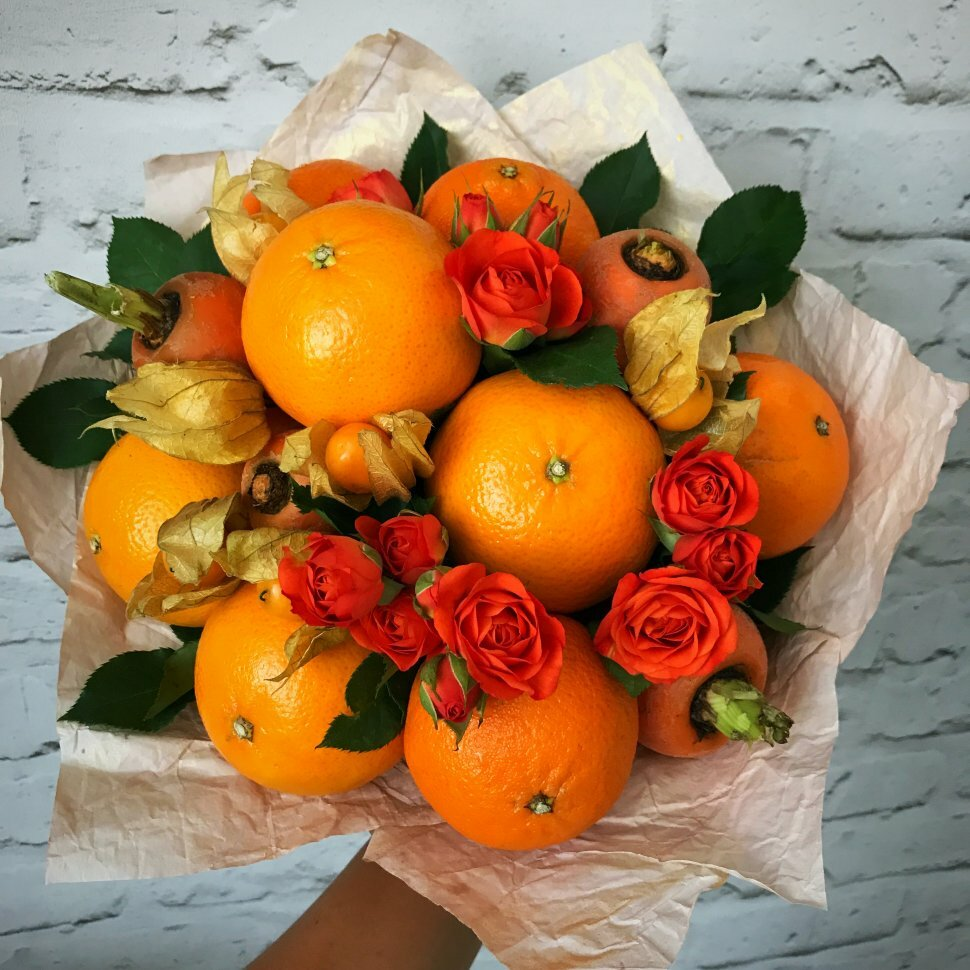 Букеты цветов с фруктами фото, цветов мыски магазин