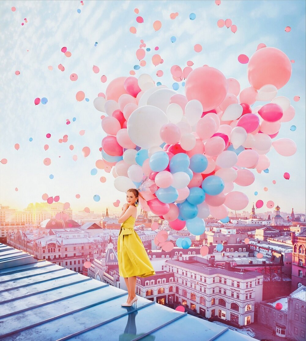 Летием, девушка с шариками воздушными картинки