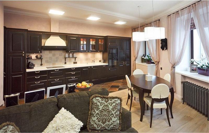 Дизайн кухни-столовой - совмещение с паркетным полом
